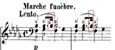 Primeiro compasso da marcha fúnebre de Chopin. Ouça neste link: http://www.ouvirmusica.com.br/frederic-chopin/2087215/#mais-acessadas/2087215