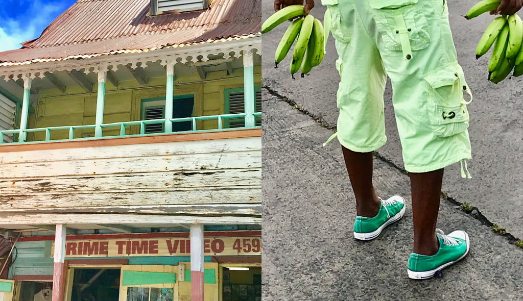 Collage of Caribbean colours and streetlife in St Lucia