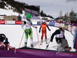 Racers at the finish line at Wells Fargo Ski Cup