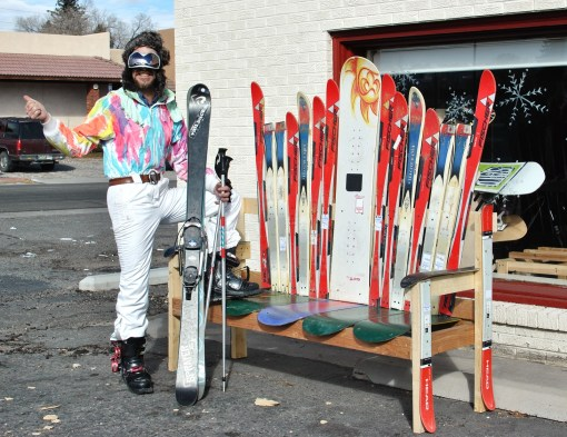 Skier Max Keller waits for a ride at one of Salida's three new ride-hailing benches intended to help connect people driving to Monarch Mountain with those looking for a ride to the ski area.