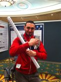 Rasit (my husband) armed and ready to put up his poster on phylogeography of inverts in the Mediterranean and Black Sea.