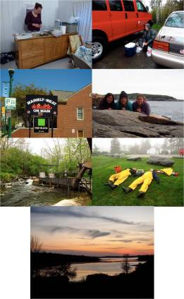Left to right / top to bottom: Make shift field lab in Darling Center Cabin, make shift field lab in the field (!), Maine-ly Meat Restaurant, Acadia NP, Alewife fish ladder in Damariscotta, ME, grass roll, and sunset.