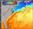 Sea surface temperature data collected by NOAA satellites.  Notice the dark orange band indicating the warm Gulf Stream.  (Image from www.science.nasa.gov)