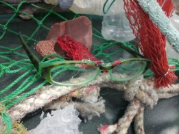 My lost and found glasses! Now part of the marine debris sculpture!
