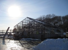 The new Hughes greenhouse, to be completed this spring, just in time for collecting marsh plants!