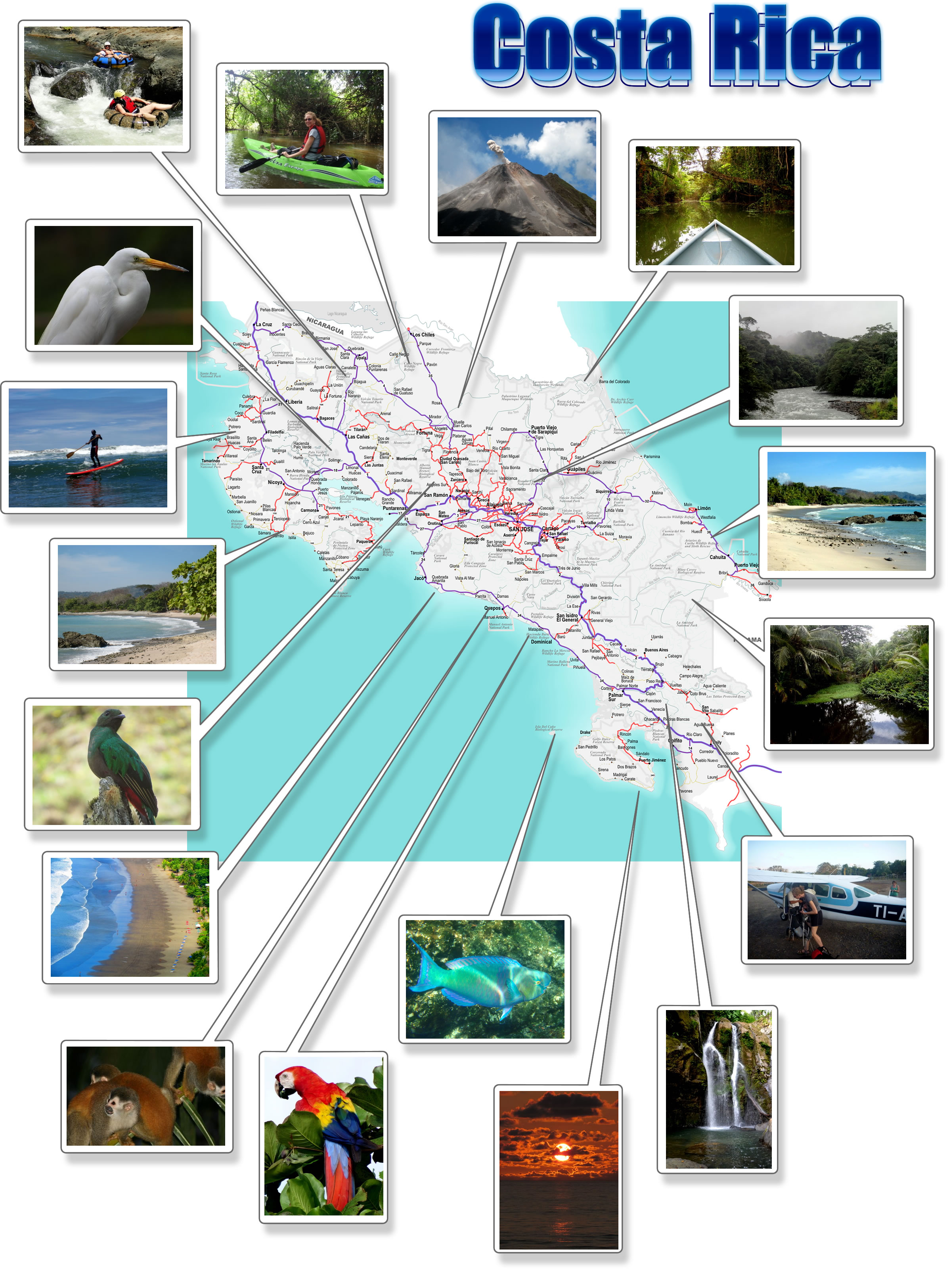 Costa Rica Free Printable Map Download