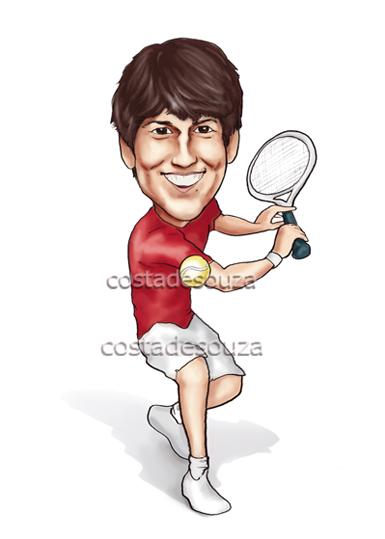 caricatura tenista tênis presente aniversário