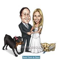 caricatura noivos cachorros casamento