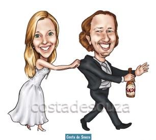 caricatura noivo fugindo casamento