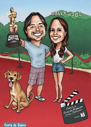 caricatura casal hollywood estatueta oscar