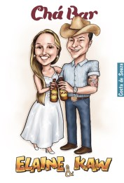 caricatura country cauboi cowboy noivos