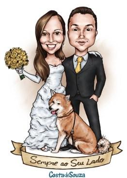 caricatura noivos convite cachorro