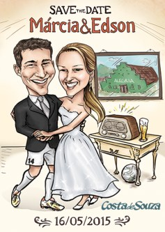 caricatura save the date casamento