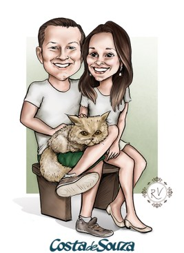 caricatura casamento noivos gato