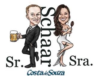 caricatura casamento noivos smith sr sra