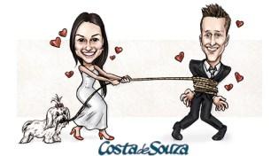 caricatura noivo noiva convite
