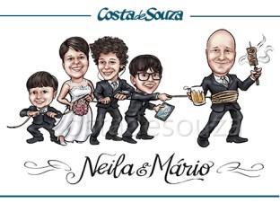 caricatura-noivos-filhos-casamento