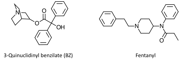 The figure shows the structures of two centrally incapacitating agents: 3-quinuclinidyl benzilate (BZ) and fentanyl.