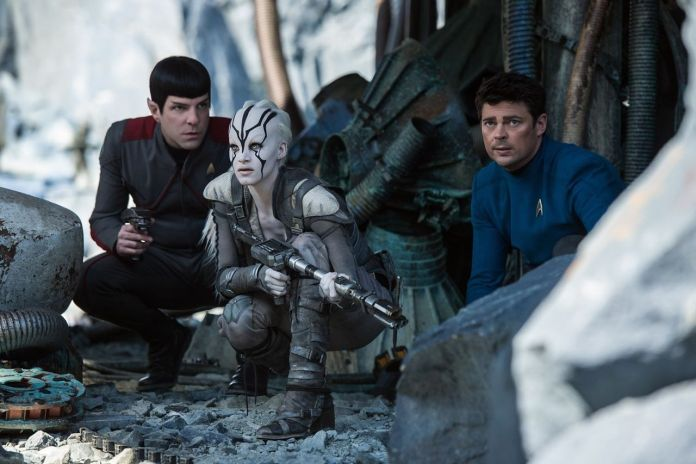 Zachary Quinto, Karl Urban, and Sofia Boutella in Star Trek Beyond (2016). Photo from IMDB.com