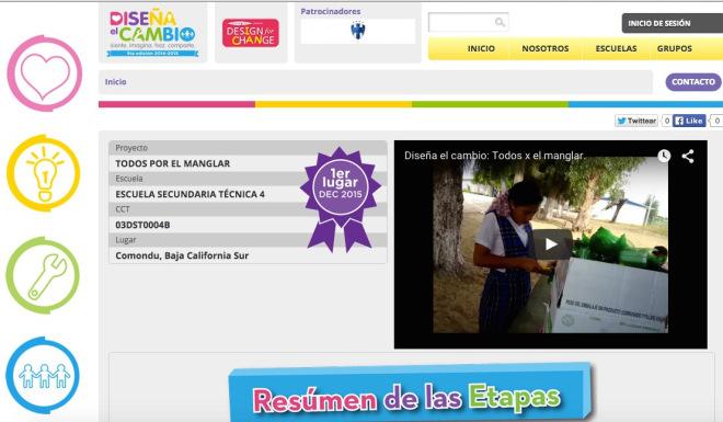 """Vista de la página de internet del concurso """"Diseña el cambio"""" donde aparece como ganador el proyecto """"Todos x el manglar"""""""
