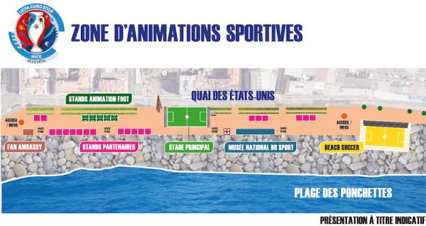 Zona de animaciones en el Muelle de Estados Unidos (Niza) durante la Euro 2016