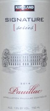 2014 Kirkland Signature Pauillac Bordeaux