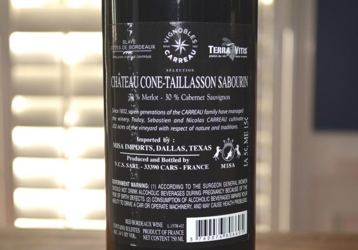 2015 Chateau Cone Taillasson Sabourin Blaye Cotes de Bordeaux