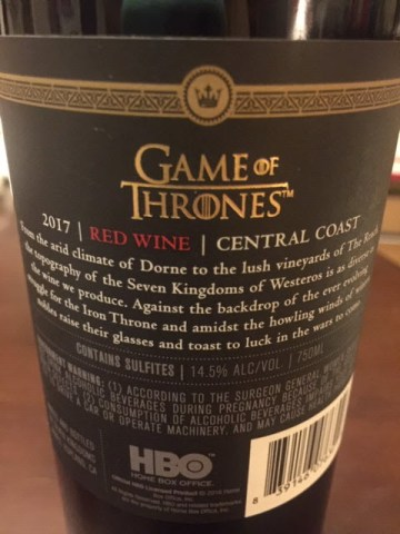 2017 Game of Thrones Red Wine
