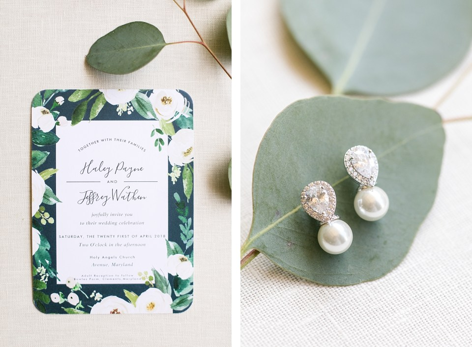 Eucalyptus earring greenery wedding details