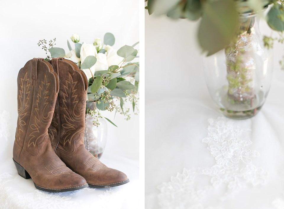 eucalyptus bouquet cowboy boots