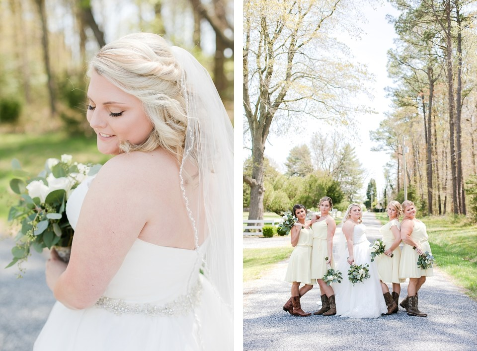 country bridal party Spring Bowles Farm Wedding