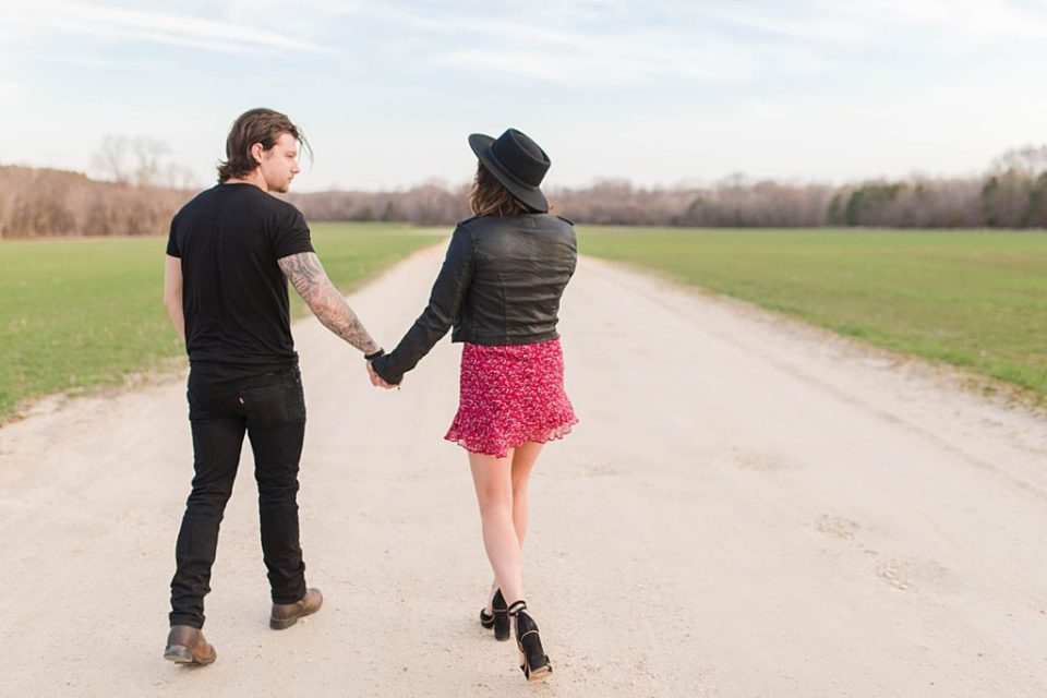 Romantic Engagement on a dirt road in Southern Maryland by Costola Photography