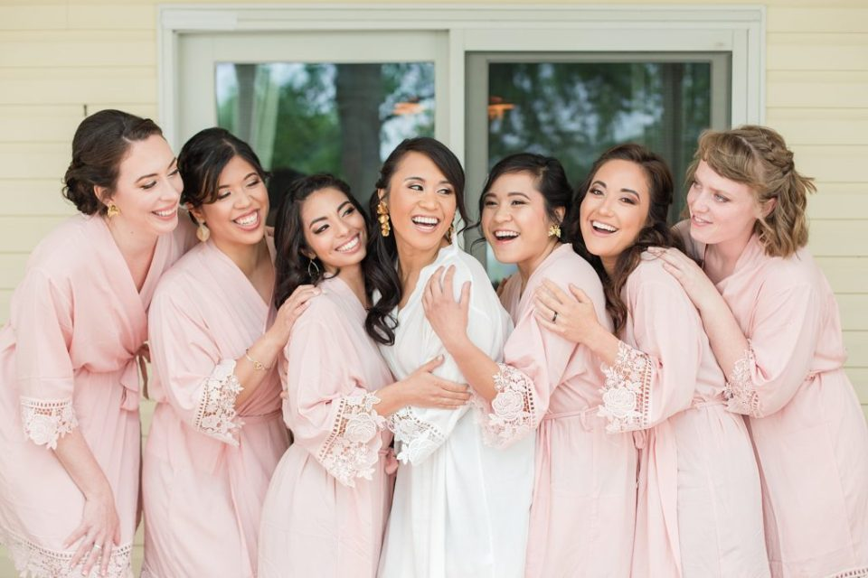 bridal party getting ready at flora corner farm photographed by costola photography