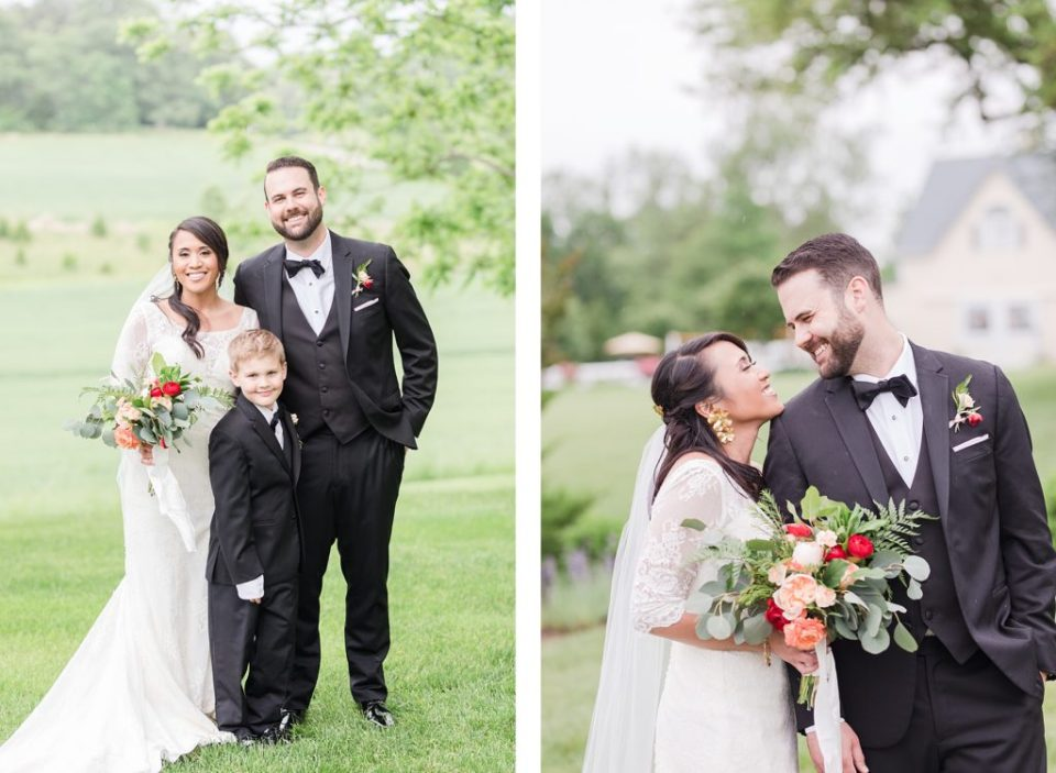 bride and groom portraits in the rain at flora corner farm photographed by costola photography