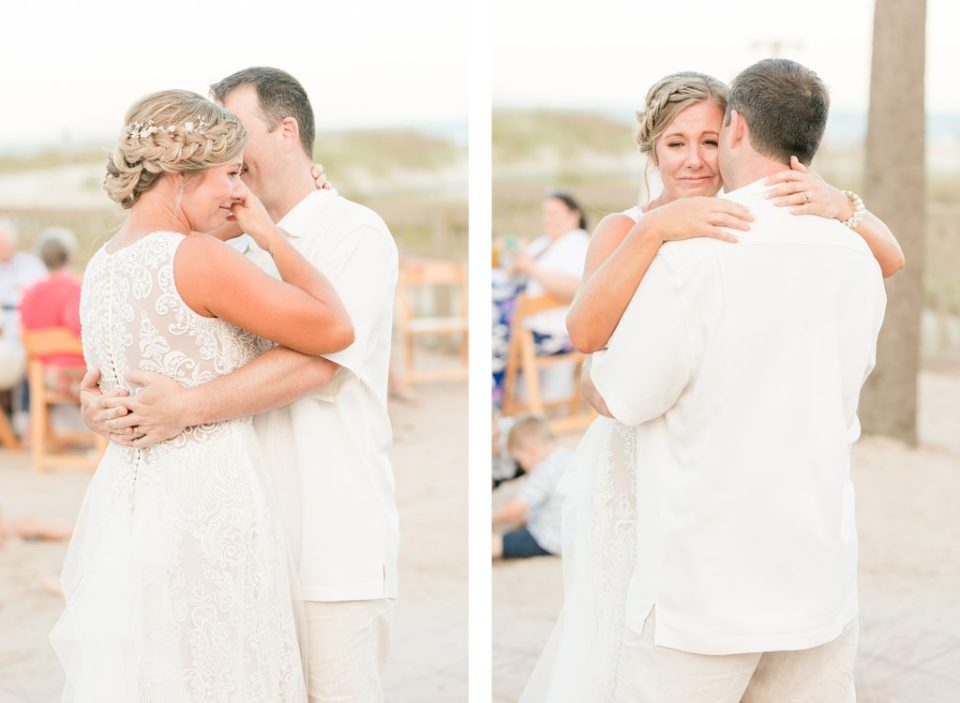Bride and Groom Dancing at Reception in the dunes for Wedding at the Beach House Resort by Costola photography