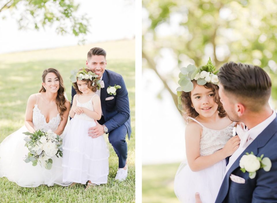 bride and groom with daughter at southern maryland waterfront venue by costola photography