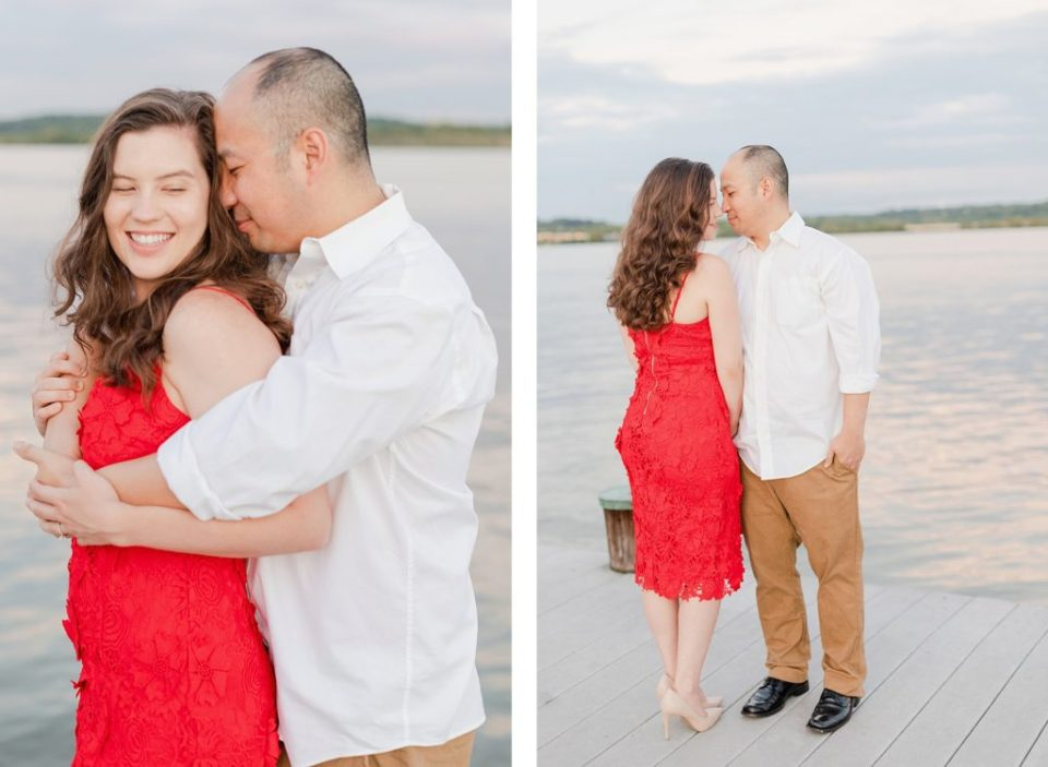 red dress waterfront engagement session in alexandria virginia by costola photography