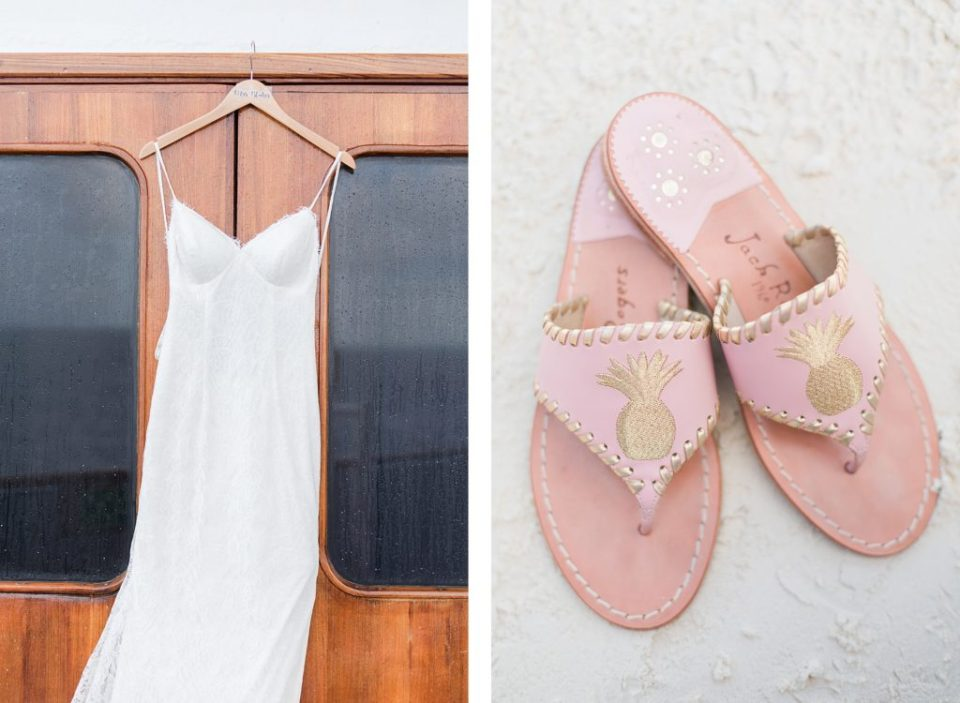 Wedding dress on cruise ship and jack rogers sandals by Costola Photography