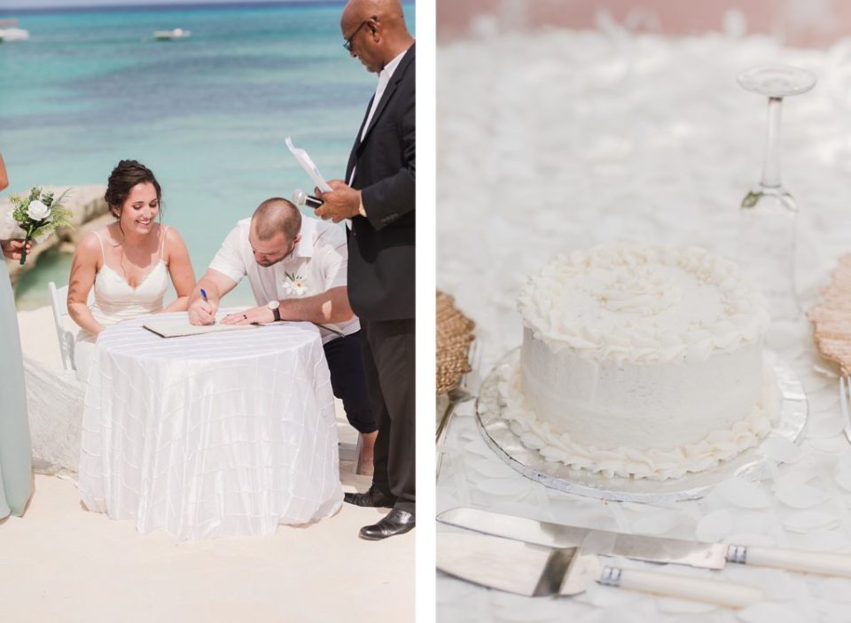 bride and groom cutting the cake at Turks and caicos wedding ceremony at ocean beach hotel by Costola Photography