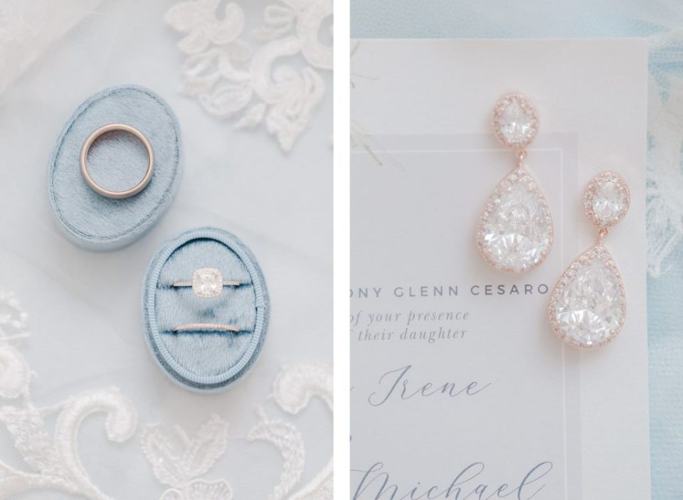 Blue and White wedding invitations and ring box at waterfront weatherly farm wedding by Costola Photography