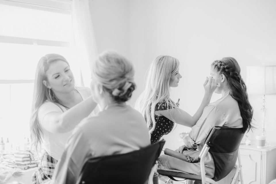 bridal party getting ready at waterfront weatherly farm wedding by Costola Photography