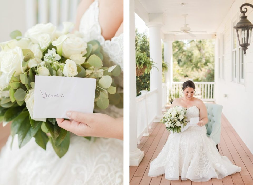 bride reading letter from groom at waterfront weatherly farm wedding by Costola Photography