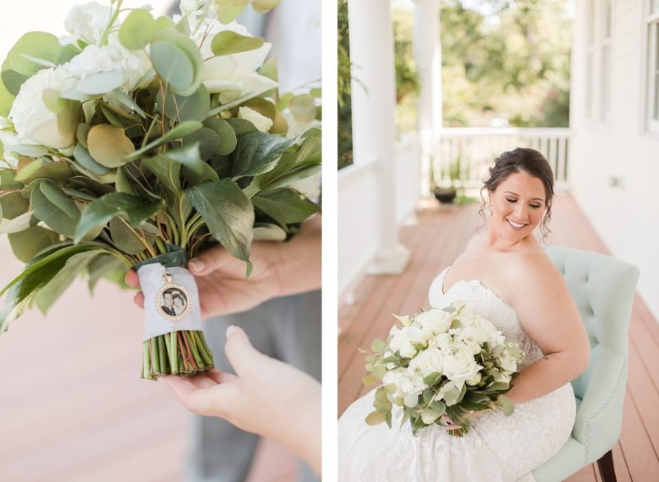bride on front porch at waterfront weatherly farm wedding by Costola Photography