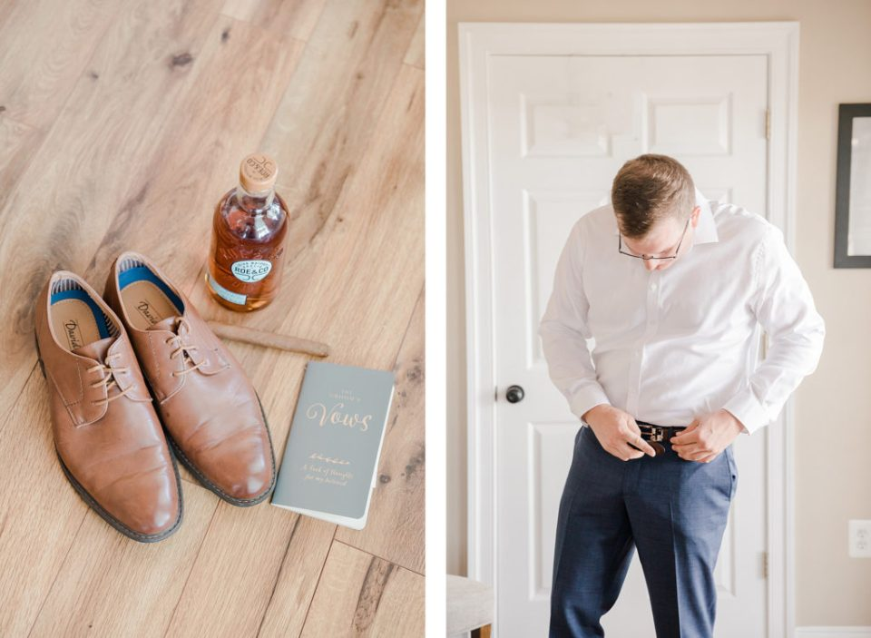 groom getting ready at waterfront weatherly farm wedding by Costola Photography