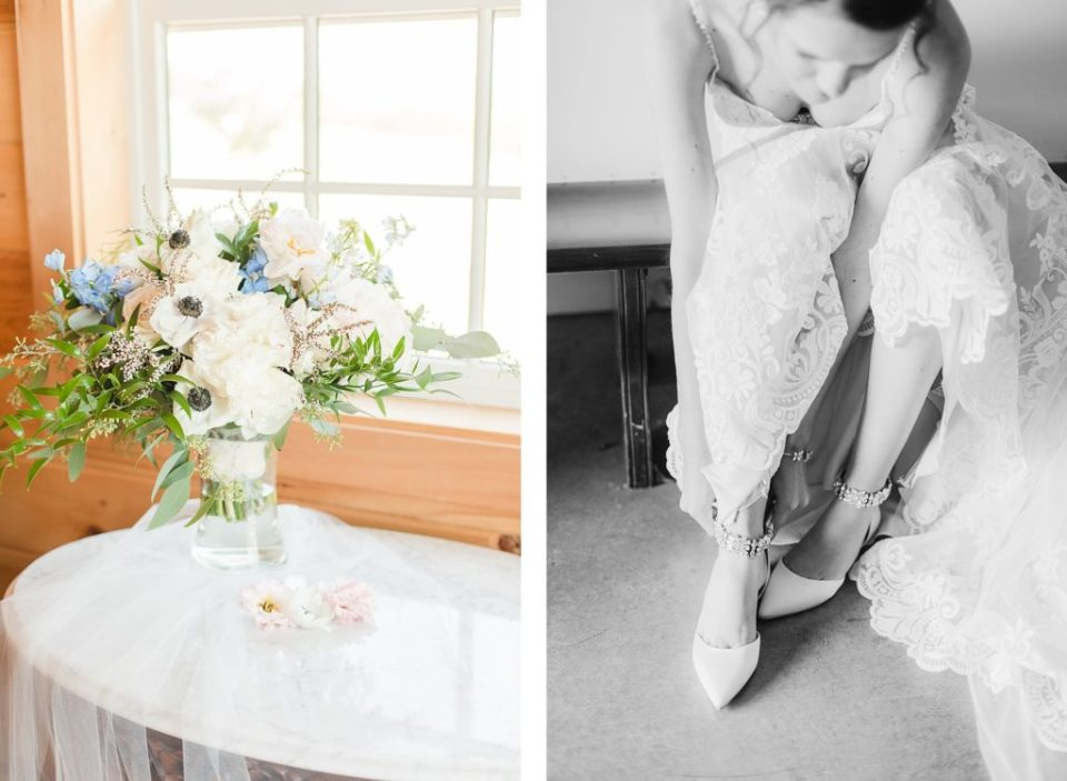 Bride putting on her shoes at classic Tennessee summer wedding by Costola Photography