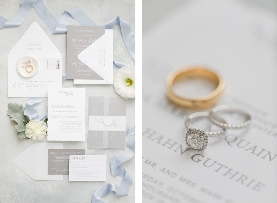 White and Blue wedding invitation suite by Costola Photography