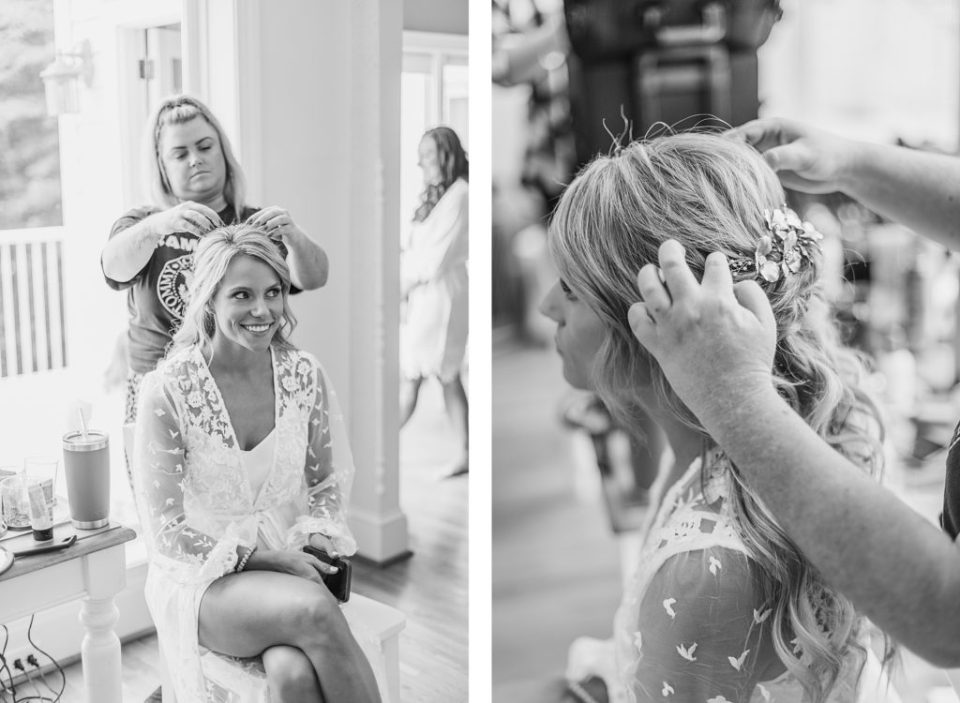 bride getting her hair done by Costola Photography