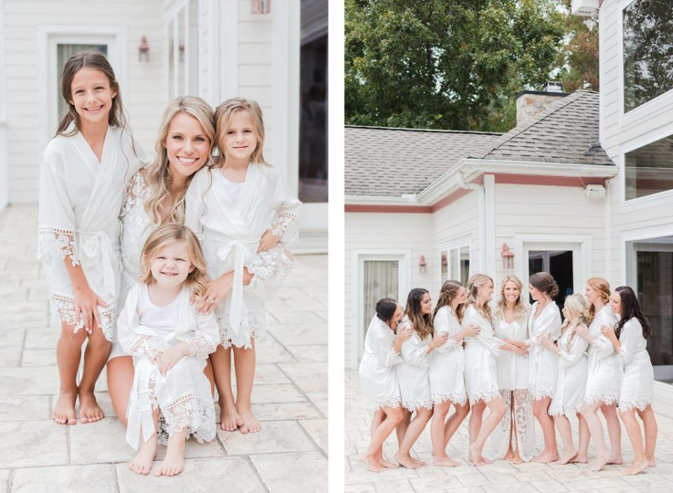 all white bridesmaids robes at southern wedding by Costola Photography