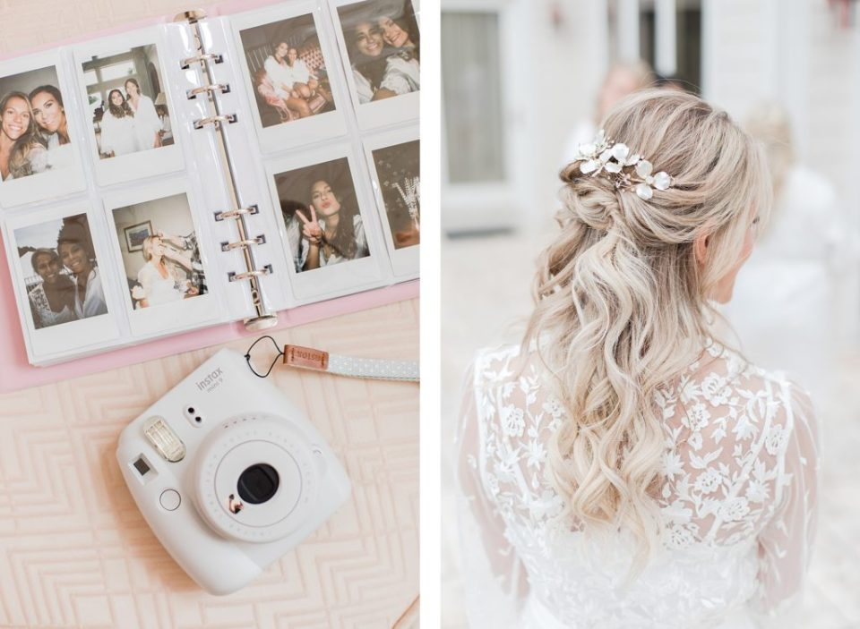 polaroid pictures and bridal hair by Costola Photography