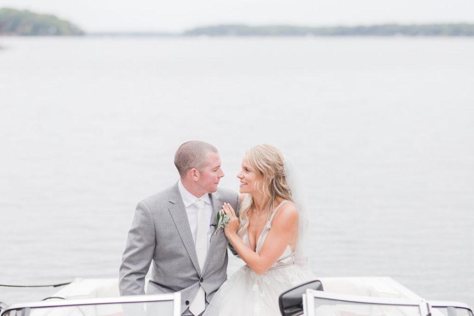 First Look by Lake Gaston at southern wedding by Costola Photography